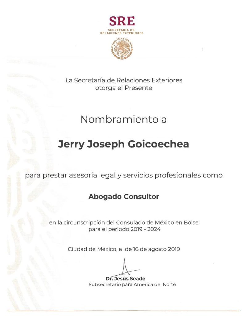 Mexican certificate